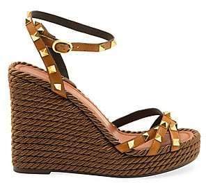Valentino Women's Rockstud Torchon Leather Espadrille Wedge Sandals
