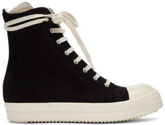 Rick Owens Black Stretch Velour Sneakers