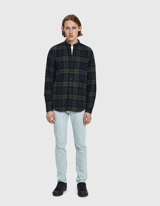 Norse Projects Anton Flannel Check Button Down Shirt in Blackwatch