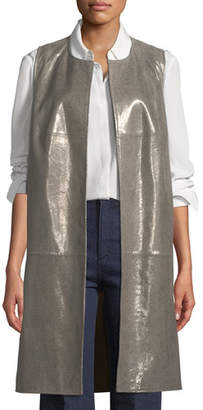 Neiman Marcus Leather Collection Long Metallic Suede Vest