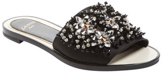 Lanvin Stoned Leather Slip-On Sandal