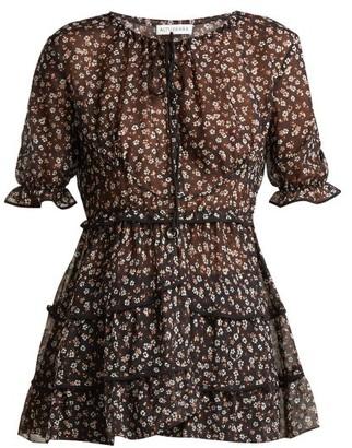 Altuzarra Kona Floral Print Silk Blend Blouse - Womens - Black Print