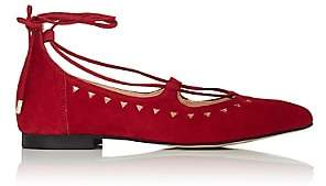 Barneys New York WOMEN'S PERFORATED SUEDE LACE-UP FLATS - RED SIZE 10