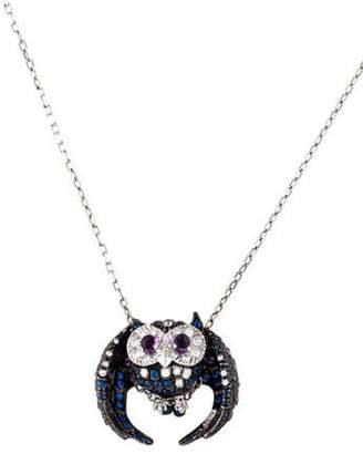 Boucheron 18K Multistone Chouette Owl Pendant Necklace white 18K Multistone Chouette Owl Pendant Necklace