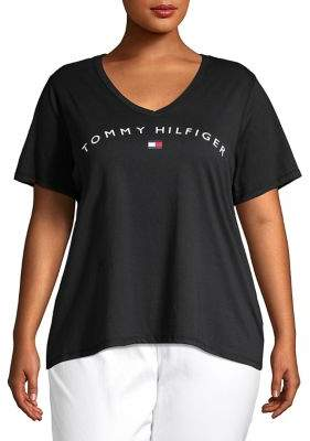 Tommy Hilfiger Plus Logo Cotton Blend Top