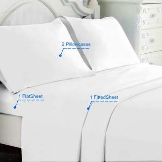 Online 4 Piece Microfiber Bedding Sheet Set,Wrinkle & Fade Resistant King-White