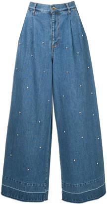 Muveil embellished wide-leg jeans