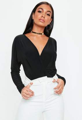 Missguided Black Jersey Blouse Bodysuit