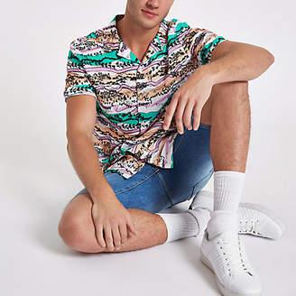 River Island Mens White aztec print short sleeve shirt