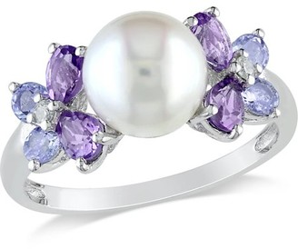 Generic Tangelo 8-8.5mm White Round Cultured Freshwater Pearl and 1 Carat Amethyst and Tanzanite with Diamond-Accent Sterling Silver Flower Cocktail Ring