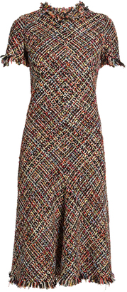 ALEXANDER MCQUEEN Fringed-edge tweed dress