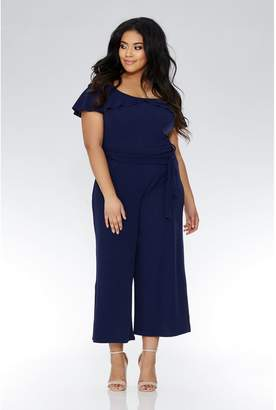 Quiz Curve Navy Cold Shoulder Jumpsuit