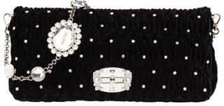 Miu Miu Crystal-Studded Velvet Crossbody Bag