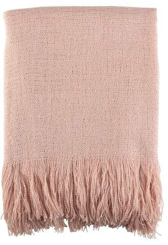 Saro Lifestyle Pink Fringe Hem Throw Blankets (50