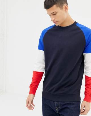ONLY & SONS Crew Neck Sweat With Contrast Color Block Sleeves