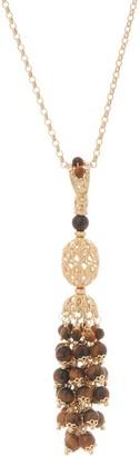 "Italian Silver Gemstone Tassel Pendant with 20"" Chain, 18K Gold Plated"