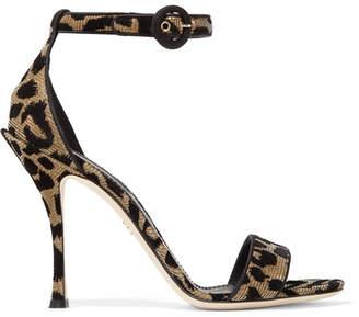 Dolce & Gabbana Flocked Metallic Canvas Sandals - Leopard print