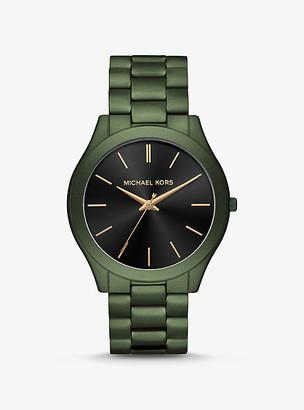 Michael Kors Oversized Slim Runway Olive-Tone Watch