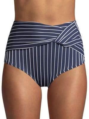Jonathan Simkhai Striped Twist High-Waist Bikini Bottom