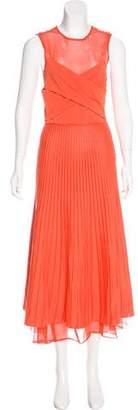 Salvatore Ferragamo Sheer Pleated Dress