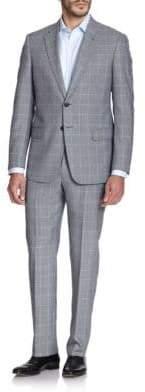 Armani Collezioni Two-Button Windowpane Wool Suit