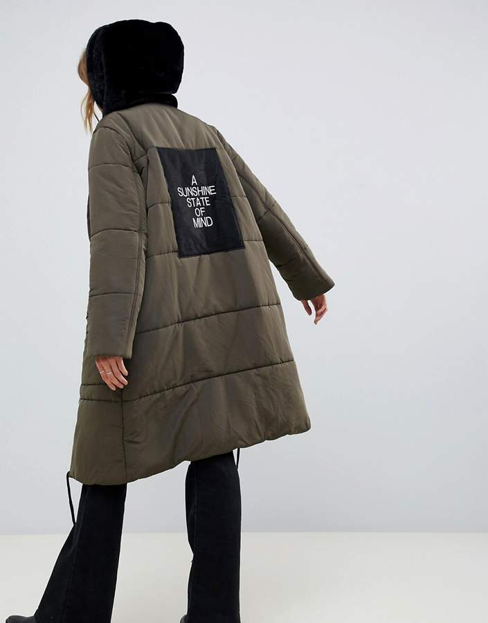 Native Rose longline padded bomber coat with sunshine panel