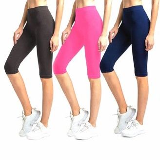 Glass House Apparel Solid Knee Length Short Spandex Yoga Leggings 3 Pack (Charcoal Neon Pink Navy)