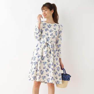 Couture Brooch (クチュール ブローチ) - クチュール ブローチ Couture brooch 【WEB限定サイズ(LL)あり】フラワープリントワンピース (オフホワイト)