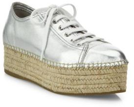 Miu Miu Metallic Leather Espadrille Platform Sneakers $595 thestylecure.com