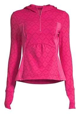 Kate Spade Women's Flower Print Half-Zip Hooded Jacket - Kinetic Pink - Size Large