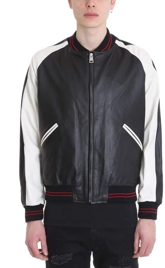 REPRESENT Black Leather Bomber Jacket
