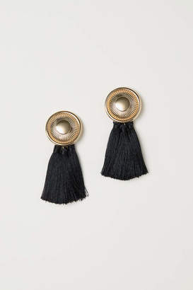 H&M Tasseled Clip Earrings - Black - Women