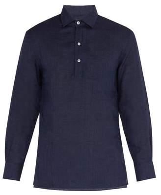 Frescobol Carioca - Point Collar Half Button Shirt - Mens - Dark Navy