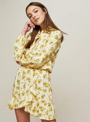 Miss Selfridge Yellow ditsy wrap mini skirt