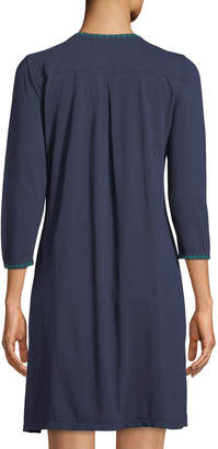 Johnny Was Floral Embroidery 3/4-Sleeve Cotton Tunic Dress
