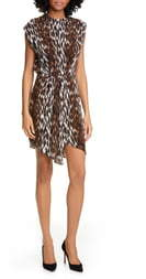 L'Agence Cipriana Leopard Print Asymmetrical Silk Dress