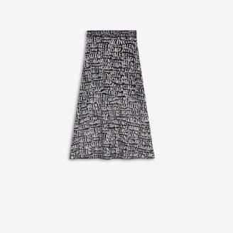 Balenciaga A-Line Skirt in black and white Logo Wave velvet knit