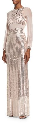 Jenny Packham Sequined Long-Sleeve Column Gown, Ballet Pink $5,275 thestylecure.com