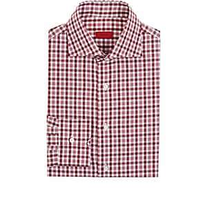 Isaia Men's Checked Cotton Poplin Button-Front Shirt-Red