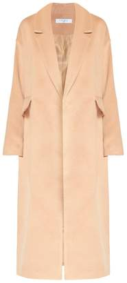 Blend of America PAISIE - Soft Tailored Wool Coat with Half Belt Detail in Sand