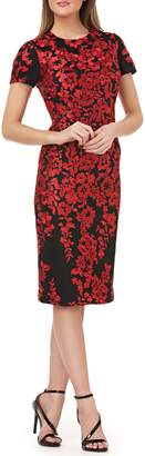 Carmen Marc Valvo Embroidered Mesh Sheath Dress