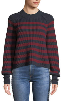 Veronica Beard Boyd Crewneck Striped Cotton Sweater