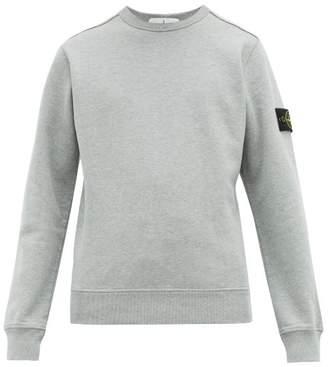 Stone Island Logo Patch Fleece Backed Cotton Sweatshirt - Mens - Light Grey