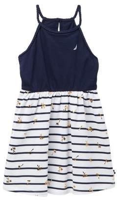 Nautica Palm Print & Striped Halter Dress (Toddler Girls)