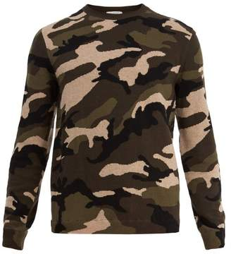 Valentino Camouflage Intarsia Knit Wool Sweater - Mens - Camouflage