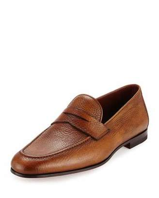 Magnanni for Neiman Marcus Pebbled Leather Penny Loafer, Cognac $425 thestylecure.com