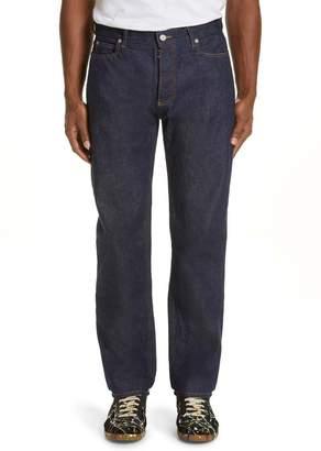 Maison Margiela Resin Coated Straight Leg Raw Denim Jeans
