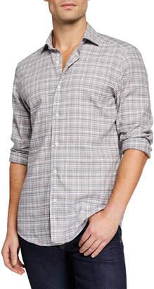 Ermenegildo Zegna Men's Two-Tone Plaid Linen-Cotton Sport Shirt