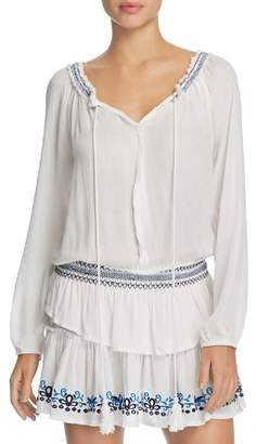 Surf Gypsy Embroidered Peasant Dress Swim Cover-Up