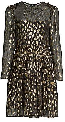 Rebecca Taylor Women's Metallic Leopard-Print Long-Sleeve Dress